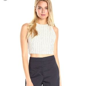 NWT Theory Nikayla Linen Narrow Striped Crop Top L